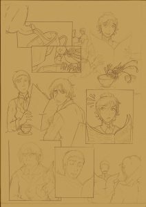 The sketch for the comic page.
